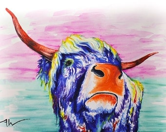 "Cow Painting | Cow Art by Aidan Weichard | Original Painting on Canvas | Abstract Animal Art  ""Salma"" 120 x 71cm - Modern Style Wall Art"