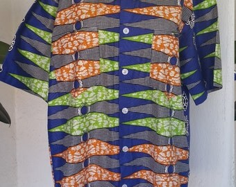 Men's Vintage Hawaiian Tiki Custom Made Button Down Shirt in Blue Orange Green White TIKI OASIS
