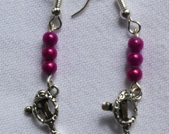 Earrings with sunglasses and coloured beads