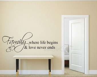 Family Wall Decals Family Wall Quotes Vinyl Family Lettering Family Where  Life Begin And Love Never