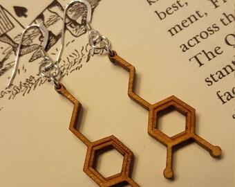 Laser Cut Dopamine Molecule Earrings - Chemistry Earrings - Nerdy Gift for Her
