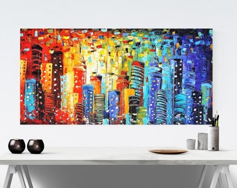 blue multicolors  wall art , art print , wall art prints,poster  abstract painting ,   jolina anthony