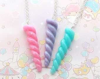 Pastel Kawaii Unicorn Horn Necklace - kawaii necklace, pastel goth necklace, fairy kei