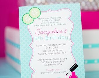 Spa Invitation   Printable Spa Invitation   Spa Birthday Invitation   Spa Party Invitation by Printable Studio
