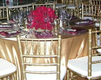 Satin Gold Tablecloths and Overlays, Round and Rectangular | Wedding Tablecloth
