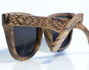 SALE Zebra Wood Sunglasses, Wayfarer Wooden Polarized Shades for Woman Man  by WOODEER