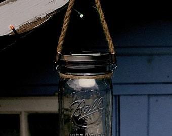 Ball Mason Wide Mouth Quart Jar Glass Solar Lantern with Rope Handle **UK SELLER**