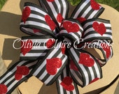 Small Hand Tied Gift Bow, for Wedding or Party Decoration. Use as Wreath Accessory or for Table Arrangement. Red Hearts on Striped Ribbon.