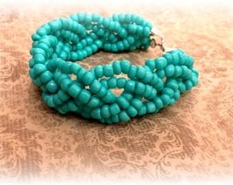 Turquoise Blue Bracelet, Beaded Bracelet, Turquoise Bracelet, Braided Bracelet, Boho Bracelet, Blue Bracelet, Handmade Bracelet