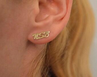 Name earrings, 10k gold  stud earring, two initial earring, Triple initial personalized earring, name stud in 10k gold.