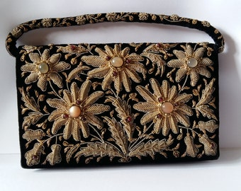 Zardozi Evening Purse, Made in India in Black Velvet with Metal Thread Embroidery andSemi Precious Stones, 1950s