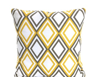 Yellow Taupe White Pillow Cover, Decorative Throw Pillow, Cushions Throw Pillow, Couch Bed, Euro Sham, Diamond Annie, One or More All Sizes