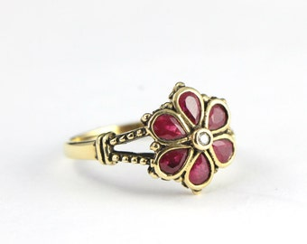 Ruby and diamond floral style nature inspired ring in 9 carat antiqued oxidised gold for her