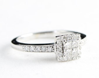 Princess square cut diamond engagement ring in platinum for her