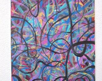 12 x 16 Acrylic Painting, Colorful Original Artwork, Abstract Canvas Painting, Colorful Modern Art, 12 x 16 Abstract Art Paining, Canvas Art