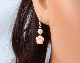Pale pink pearl flower earrings. Choose silver, gold or rose gold. Elegant and dainty