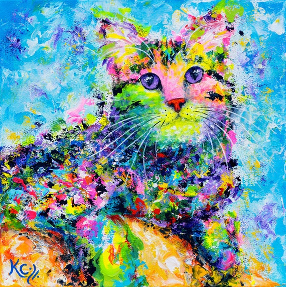 Tabby Cat Art Print, Colorful Tabby Cat Art. Psychedelic Cat Artwork. FREE SHIPPING!