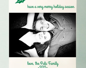 Letterpressed Holly Holiday Cards