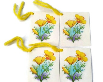 Yellow Buttercup Vintage Floral Tally Cards Unused Set of 4 Reclaimed Gift Tag Scrapbook Ephemera
