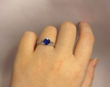Sterling Silver Claddagh Ring | Blue Claddagh Size 5 6 7 8 9 | Blue Heart Ring | Blue Sapphire | Christmas Gifts | Gift For Her