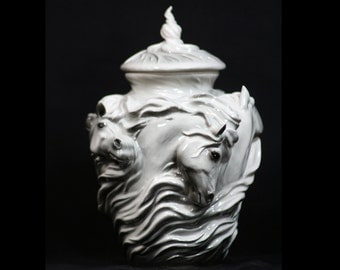 Spirits in the Wind - Horse Urn - Porcelain in Greys. Elegant tribute to an avid Horse lover or a Loved horse.