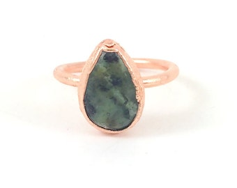Raw Stone Ring, African Turquoise Ring, Raw Crystal, Electroformed Ring, Copper Ring, Green Gemstone, Blue Gemstone, Teardrop, Healing
