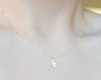 Ankh necklace. 14K GF, SOLID 14K GOLD, or s.silver. dainty Egyptian hieroglyph. crux ansata handled cross hieroglyphics key of the Nile
