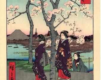"Woodblock print, Japanese Ukiyoe, Hiroshige, ""The Sumida River Embankment in Edo"", Thirty-six Views of Mount Fuji ."