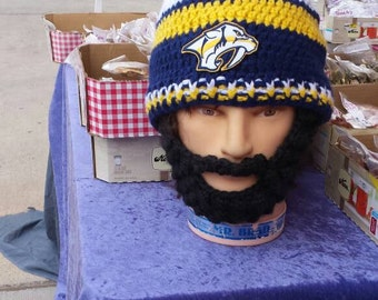 NASHVILLE PREDATORS Hockey Bearded Beanie,Nashville Predators Embroidered Patch,Velcro Both Sides Beard Beanie,Customize Size Color,Gift