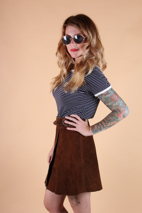 vtg HIGH waisted BROWN SUEDE wrap skirt