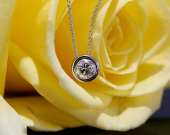 5.5mm Diamond Bezel set Pendant in 14K White Gold, Bezel Diamond Necklace (available in rose gold, yellow gold and platinum)