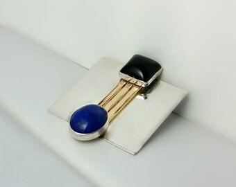 Silver Square Brooch - Mod Square Pin - Handmade Minimalist Pin - Blue Cabochon and Black Onyx Brooch - Gold Bars - Mod Brooch