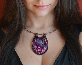 Amethyst necklace, purple necklace, large necklace, amethyst pendant, statement necklace