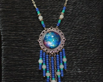 Galaxy universe mandala hippie bohemian necklace chain silver