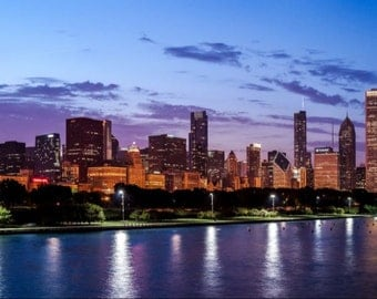 Chicago Cityscape at SunsetPanoramic Print
