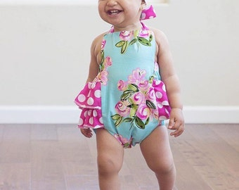Baby Girl Romper, pink and blue floral romper and head wrap set, floral and polka dot outfit, girls summer outfit, polka dot romper