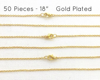 """50 Pcs GOLD PLATED 18"""" Finished Chain, Flat Shiny Cable Chain Soldered, 1.75 x 1.85mm, 50 Pieces, Wholesale Gold Chain, Bulk Chains, 18 inch"""