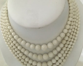 Bold and Beautiful White Five Strand Glass Beaded Vintage Necklace 1950's era