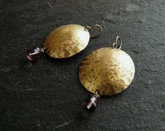 Domed brass earrings with Czech glass beads, large violet dangle earrings
