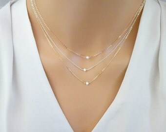 Freshwater pearl necklace, June birthstone necklace, Bridesmaid necklace, bridal jewelry wedding rose gold necklace