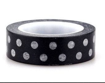 10m Black and White Polka Dot Japanese Washi Tape, Black and White Masking Tape