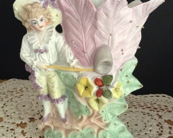 Victorian Planter Victorian Vase Bisque Figurine Vase Victorian Girl Figurine Nursery Decor Bookcase Decor
