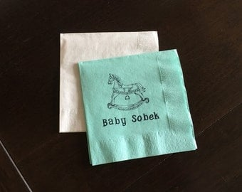 Personalized Rocking Horse Napkins - Baby Shower Napkins, Horse Theme Baby Shower, Party Napkins, Shower Napkins, Custom Tableware, New Baby