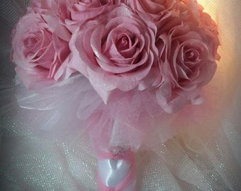 Pink Rose Bouquet, Communion Bouquet, Wedding Bouquet Pink and White Bouquet, Real Touch Roses Bouquet, Small Tutu Pink Bouquet,Prom Bouquet