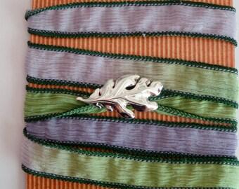 Sterling silver oak leaf  silk wrap bracelet.