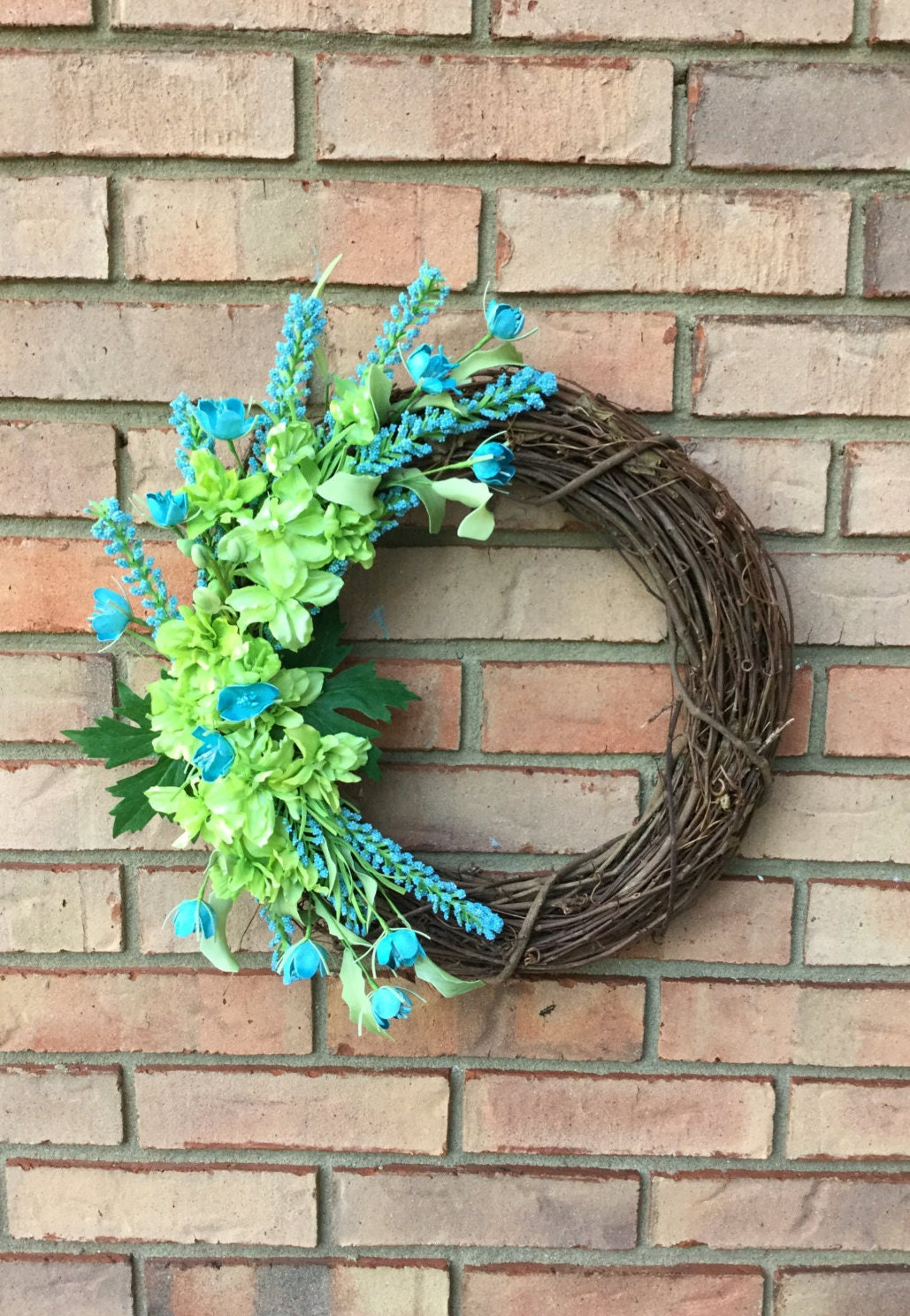 spring front door wreath outdoor wreath easter blue wreath. Black Bedroom Furniture Sets. Home Design Ideas