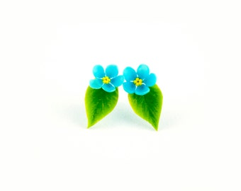 Forget me not flower jewelry Flower earrings Stud earrings for girls Cute earrings Ear studs Earring studs Green earrings Earrings studs