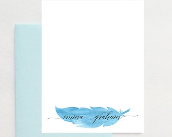 Personalized Gifts for Mom, Personalized Mothers Day Gift, Personalized Gifts for Grandma, Grandmother Gifts, Watercolor Feather Stationery