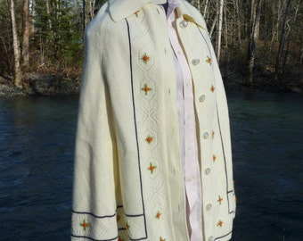 CAPE-CARDIGAN medium, ivory, by Elite Knits of California buttoned cardigan cape with arm holes Buttoned cape made in California