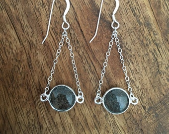 Rutile Expectations Earrings -Stone Pendant Silver Earrings, Sterling Silver Dangle earrings with Silver Dangling Chain and Quartz Stones